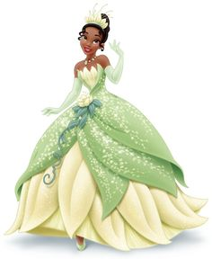 Tiana is the protagonist of The Princess and the Frog. She is the ninth official Disney Princess. Tiana is mainly pictured with her dress from the end of the movie, a green-and-light yellow one, with pale green leaves. Disney Magic, Disney Art, Disney Movies, Disney Pixar, Disney Wiki, Disney Princesa Tiana, Princesa Jasmine, Doug Funnie, Image Princesse Disney