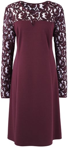 Plus size, lacy party dress in Berry / Burgundy - http://www.boomerinas.com/2012/10/22/holiday-party-dresses-christmas-red-not-only-choice/