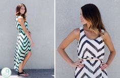 GroopDealz | Chevron Chiffon High Low Dress