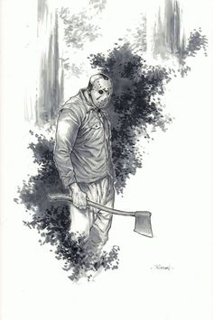 Jason Pin Up, in sean wallace's 2016 NYCC Charity Auction Comic Art Gallery Room Mrs Voorhees, Jason Voorhees, Horror Icons, Horror Films, Friday The 13th Poster, Jason Friday, Slasher Movies, Michael Myers, Scary Movies