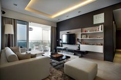 The Seafront on Meyer, Contemporary Condominium Interior Design, Living Room with Balcony.