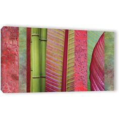 ArtWall Cora Niele Red Green Gallery-Wrapped Canvas, Size: 12 x 24, Green