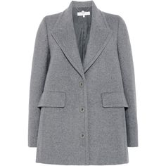 Stella McCartney Granite Debora Coat (56,985 PHP) ❤ liked on Polyvore featuring outerwear, coats, lapel coat, stella mccartney, single-breasted trench coats, stella mccartney coat and grey coat
