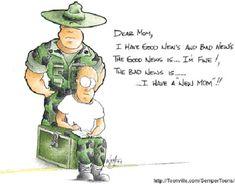 "marine corps mom cartoons | Fig. 34: ""Dear mom, I have good news and bad news. The good news is ..."