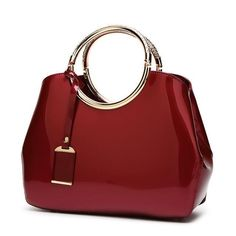 Patent Leather Women Top Handle Shoulder Bag Purse