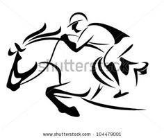 show jumping emblem - black and white vector outline of horse and jockey by Cattallina, via ShutterStock
