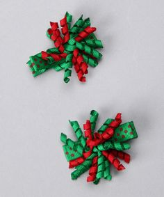 Green and Red Mini Korker Bows