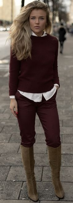 Burgundy + Brown