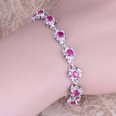 Gleaming Red Ruby 925 Sterling Silver Overlay Link Chain Bracelet 7 - 8 inch Free Shipping & Gift Bag S0556  #designerdivajewelry #jewellery #jewelry #bracelets #earrings