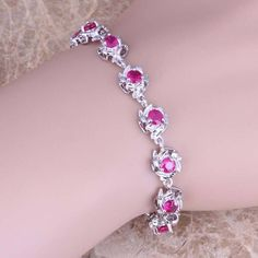 Gleaming Red Ruby 925 Sterling Silver Overlay Link Chain Bracelet 7 - 8 inch Free Shipping & Gift Bag S0556