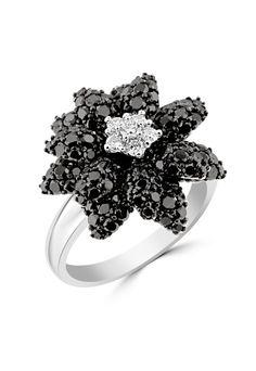 Effy 14K White Gold Black and White Diamond Flower Ring, 2.87 TCW