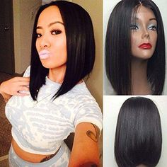 130 Density Unprocessed Virgin Brazilian Short Bob Cut Human Hair Full Lace Wig