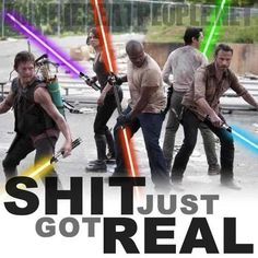 the walking dead....with lightsabers....lmao!! not sure if i should pin this in the walking dead or star wars