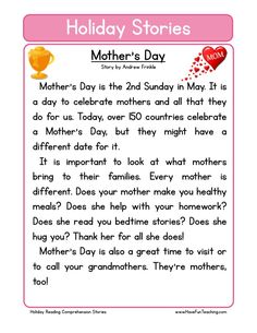 This Reading Comprehension Worksheet - Mother's Day is for teaching reading comprehension. Use this reading comprehension story to teach reading comprehension.