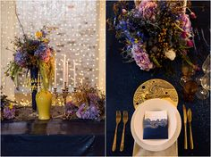 Inspired by VIncent van Gogh's Starry Night Painting by Samantha Clifton Photography. Blue Gold Wedding, Birch, Wedding Details, Stationery, Wedding Inspiration, Sequins, Van, Invitations, Table Decorations