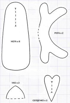 Тильда олень в форме печеньки: выкройка мягкой игрушки для шитья