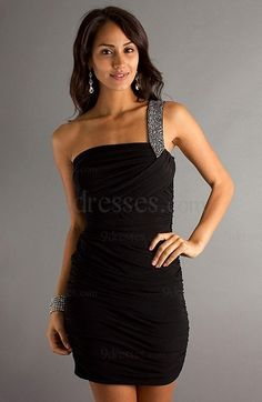 b49796d77de 2013 Hot Sale Sheath Column Chiffon One Shoulder Short Mini Beading Black  Cocktail dress