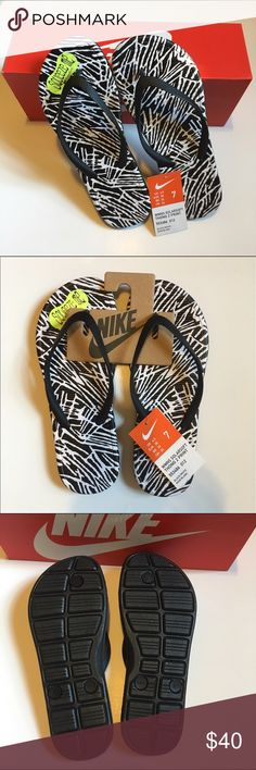 NWT Nike Solarsoft Black & White Flip Flops. 7. NWT Nike Solarsoft Black & White Flip Flops. Size 7. Comfort and style makes these flip flops a warm weather favorite! Solarsoft foam midsole and outsole offers light weight cushioning. Grooved footbed promotes air flow and drainage.                        🌟REASONABLE OFFERS ARE ALWAYS CONSIDERED🌟BUNDLE TO SAVE🌟 Nike Solarsoft Shoes Sandals