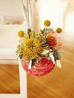 Aisle Decor - yarn ball with flowers in it! Floral Wedding, Diy Wedding, Wedding Flowers, Wedding Ideas, Wedding Ceremony, Dream Wedding, Protea Wedding, Decor Wedding, Aisle Flowers