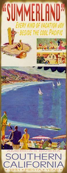 Historique CaliforniaTourism Connexion  Plage Vintage Signs de Meissenburg Designs. ....reépinglé par Maurie Daboux ❥•*`*•❥