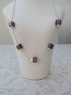 Multi coloured glass cube and swarovski necklace by JewelInfinityBeyond on Etsy