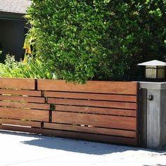 Raised Garden Beds for Those of Us with Sloped Yard Fence - Onechitecture Backyard Gates, Backyard Pergola, Pergola Kits, Driveway Gate, Pergola Ideas, Gate Designs Modern, Timber Fencing, Wood Fences, Wood Fence Design