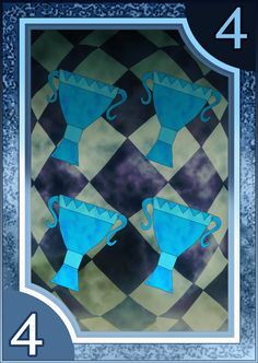 Persona 3/4 Tarot Card Deck HR - Suit of Cups 4 by Enetirnel