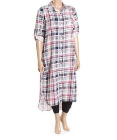 Another great find on #zulily! Pink Plaid Button-Up Tunic - Plus by Stevie & Lindsay #zulilyfinds