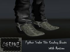 203b3c35e Second Life Marketplace - {CHROME} Python Snake Skin Cowboy Boots Snakeskin  Cowboy Boots,