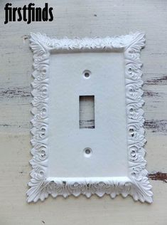 1 Shabby Chic White Electrical Outlet Cover Plate by Firstfinds