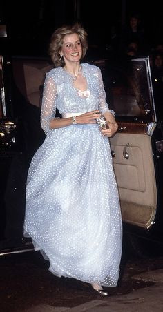 The Princess of Wales arrives at St David's Hall in Cardiff, for a charity concert, October 1982. She wears a gown by the Emmanuels. (Photo by Jayne Fincher/Princess Diana Archive/Getty Images)