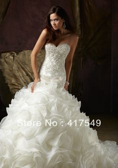 Stylish 2013 Prom New Fashion Sweetheart Beaded Sequins Organza Mermaid Wedding Dresses US $208.99