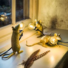 Cast in resin and holding a LED bulb, these adorably miniature mouse lamps are perfect for brightening up dark corners and as a bedside companion. Light Table, Lamp Light, Birdcage Chandelier, Play Table, Light Fittings, Tea Light Holder, Downlights, Tea Lights, Gifts For Kids