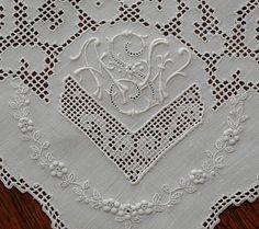 Em's Heart Antique Linens -Vintage Embroidered Appenzell linen monogrammed napkins