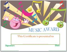 Kids certificate template kids certificate templates pinterest smiley face music award certificate yelopaper Image collections