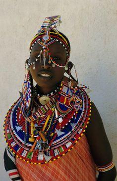 Africa | Portrait of a young Samburu woman in traditional dress and jewellery, northern Kenya. | ©Liba Taylor