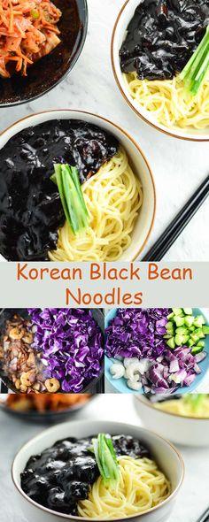 Korean Black Bean Noodles (Jjajangmyeon) with prawn, purple cabbage, cucumber and black bean paste.