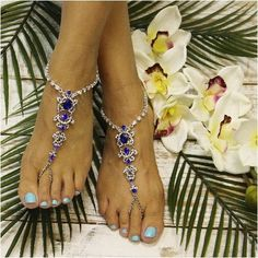 Barefoot sandals in sapphire blue. Breathtaking is perfect word to describe our sapphire blue rhinestone silver barefoot sandals. These brilliant blue sandals look great barefoot or with your wedding