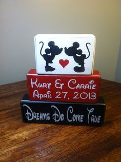 Mickey and Minnie Mouse Wedding PERSONALIZED Marriage Family Names Wedding Date Wood Sign blocks primitive country rustic  on Etsy, $21.95
