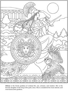 Cool when teaching Greek/Roman mythology. Goddesses Coloring pages: Dover Publications Sample Coloring Book Pages, Printable Coloring Pages, Coloring Sheets, Tachisme, Dover Publications, Greek Gods, Book Of Shadows, Gods And Goddesses, Free Coloring