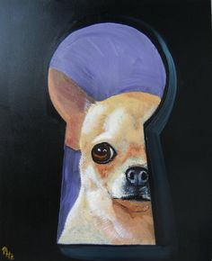 Chihuahua Art Dog Print/ The Peeper / by Original Mike Holzer