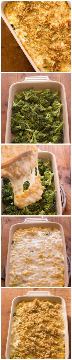 Creamy and Cheesy Broccoli and Corn Casserole Recipe...I used Cheddar Cheese instead. -Liz-