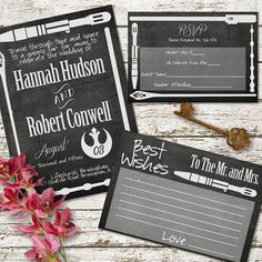 Weapon Chalkboard Printable Wedding Invitation Pack - sci-fi star wars lord of the rings sonic screwdriver harry potter dr who bundle diy