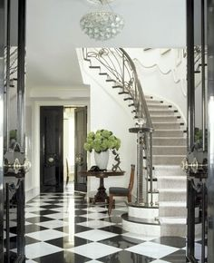 Never ages.a Classic Grand Foyer in black & white checkered marble tiles and c. Never ages…a Classic Grand Foyer in black & white checkered marble tiles and curvy staircase via Style At Home, Beautiful Interiors, Beautiful Homes, Black And White Flooring, Black White, Large Black, Floor Design, House Design, Tile Design