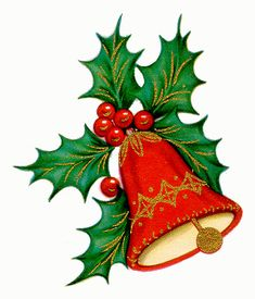 Holly Sprig with Gold-Trimmed Red Bell - Christmas Decorations🎄 Christmas Graphics, Christmas Clipart, Vintage Christmas Cards, Christmas Pictures, Christmas Rock, Christmas Candles, Christmas Holidays, Christmas Drawing, Christmas Paintings