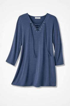 Lace-It-Up Tunic, Ranch Blue