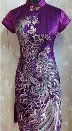 purple black red Chinese silk embroider Women's Dress Cheongsam 6.8.10.12.14.16 | eBay