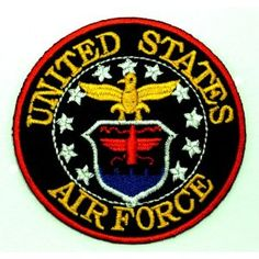 United States Air Force USAF Military USA Badge Embroidered Iron on Patch