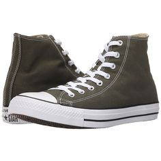 Converse Chuck Taylor All Star Seasonal Color Hi (Herbal/White/Black)... ($48) ❤ liked on Polyvore featuring men's fashion, men's shoes, men's sneakers, shoes, mens metallic gold sneakers, colorful mens shoes, mens rubber shoes, converse mens sneakers and black white mens dress shoes