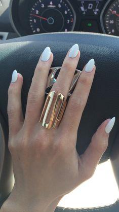 White Almond Shape Nails